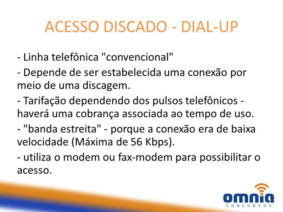 ACESSO DISCADO - DIAL-UP - Linha telefônica
