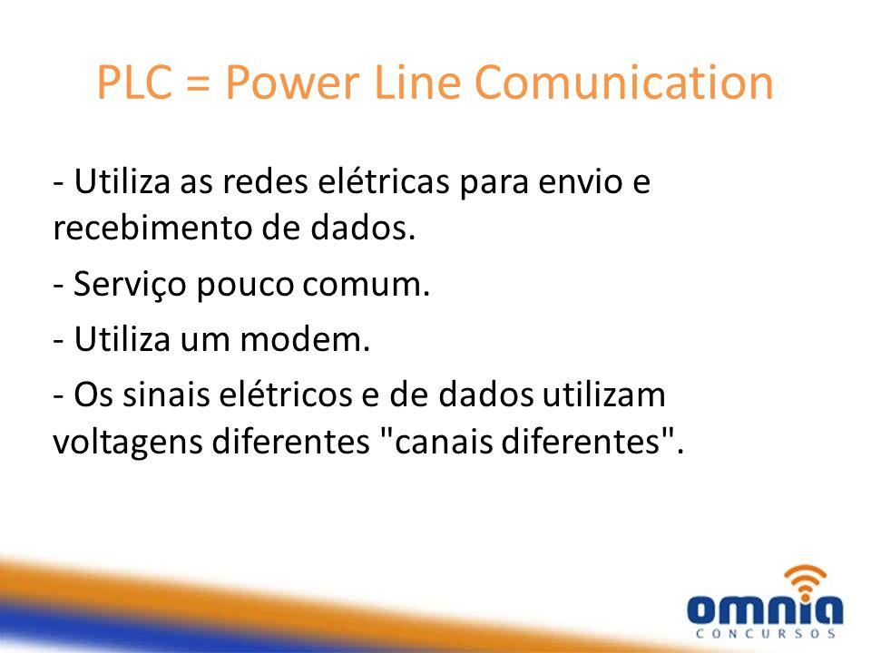 PLC = Power Line Comunication - Utiliza as redes elétricas para envio e recebimento de dados. - Serviço pouco comum. - Utiliza um modem. - Os sinais e