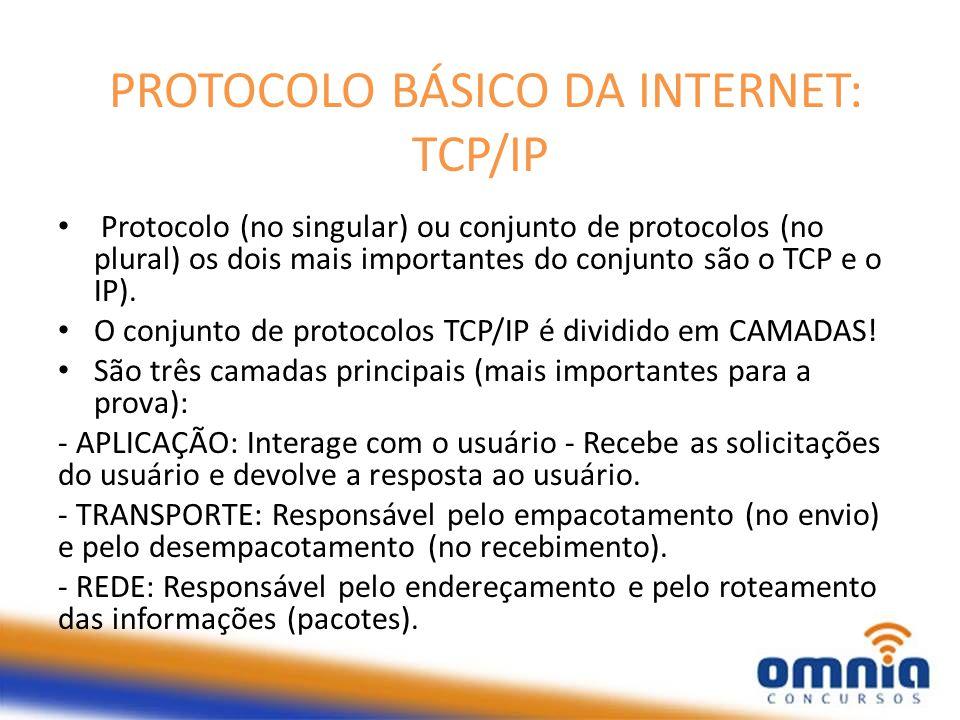 PROTOCOLO BÁSICO DA INTERNET: TCP/IP Protocolo (no singular) ou conjunto de protocolos (no plural) os dois mais importantes do conjunto são o TCP e o