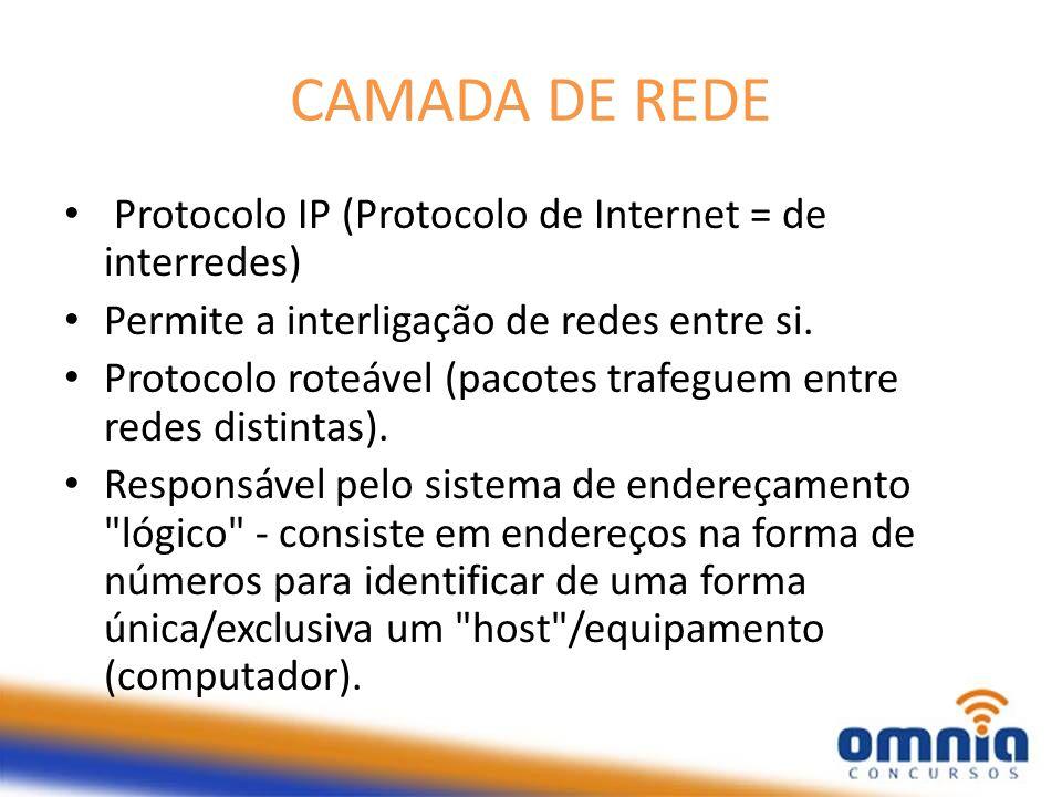 CAMADA DE REDE Protocolo IP (Protocolo de Internet = de interredes) Permite a interligação de redes entre si. Protocolo roteável (pacotes trafeguem en