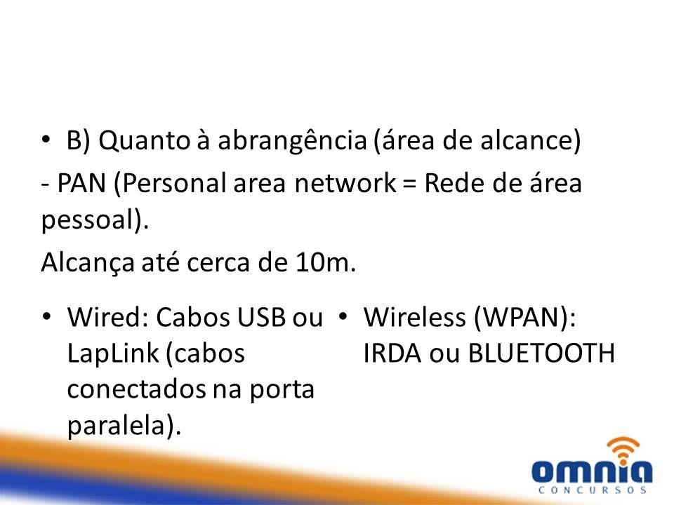 B) Quanto à abrangência (área de alcance) - PAN (Personal area network = Rede de área pessoal). Alcança até cerca de 10m. Wired: Cabos USB ou LapLink