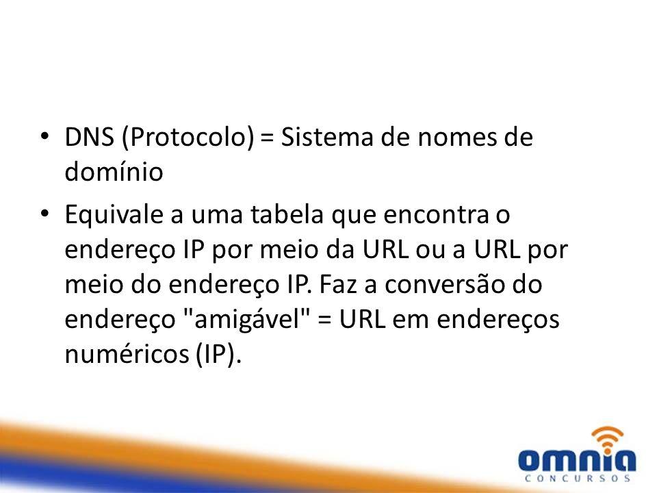 DNS (Protocolo) = Sistema de nomes de domínio Equivale a uma tabela que encontra o endereço IP por meio da URL ou a URL por meio do endereço IP. Faz a