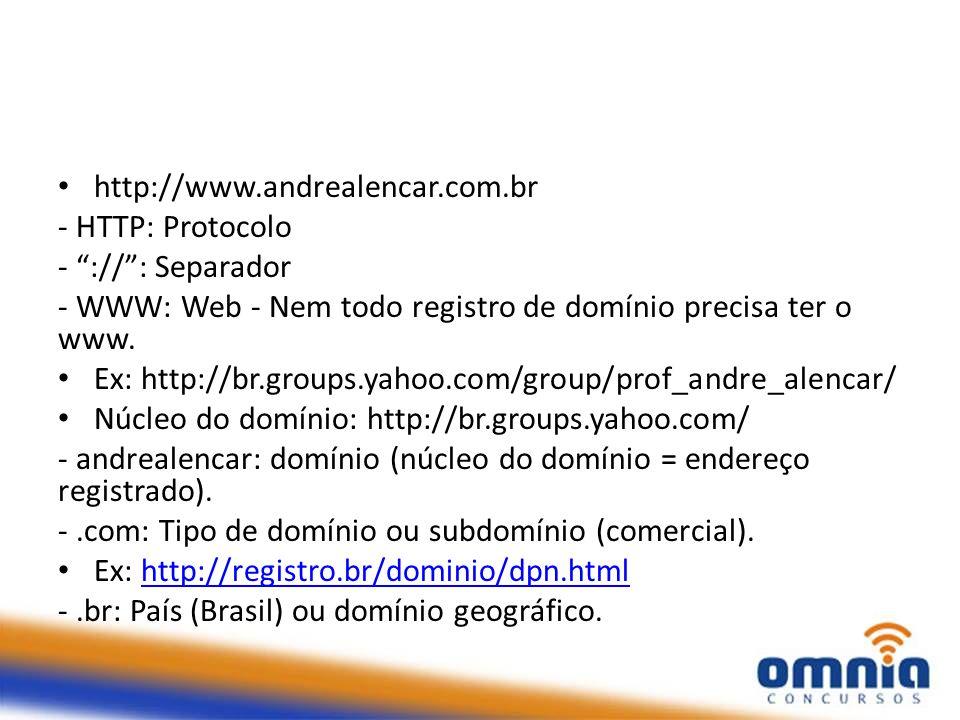 """- HTTP: Protocolo - """"://"""": Separador - WWW: Web - Nem todo registro de domínio precisa ter o www. Ex: http://br.groups.yahoo.com/group/prof_andre_alen"""