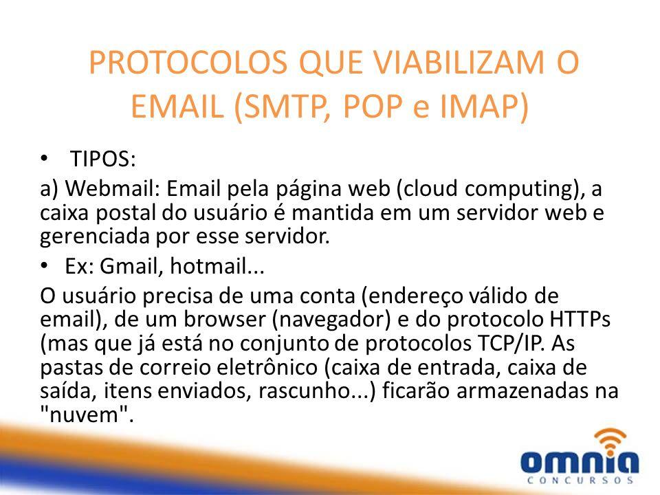 PROTOCOLOS QUE VIABILIZAM O EMAIL (SMTP, POP e IMAP) TIPOS: a) Webmail: Email pela página web (cloud computing), a caixa postal do usuário é mantida e