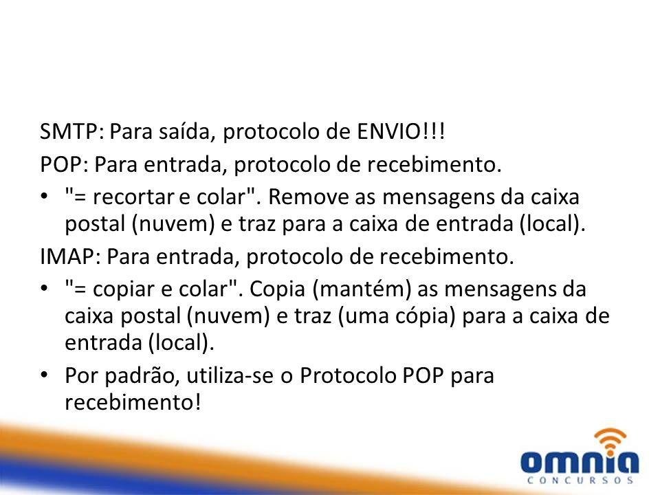 SMTP: Para saída, protocolo de ENVIO!!! POP: Para entrada, protocolo de recebimento.