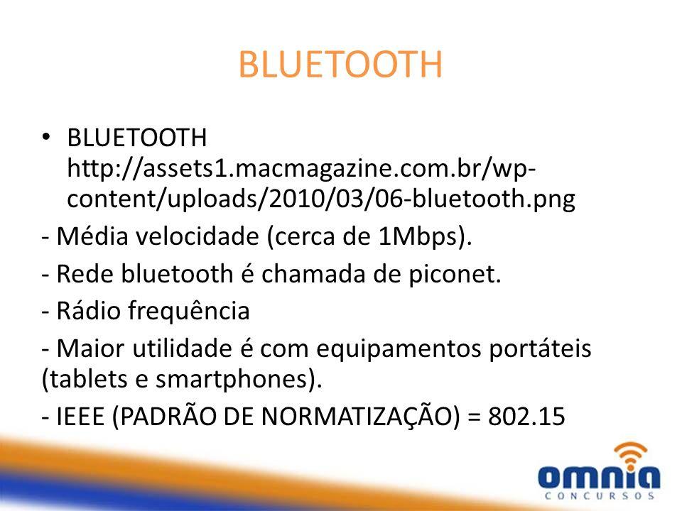 BLUETOOTH BLUETOOTH http://assets1.macmagazine.com.br/wp- content/uploads/2010/03/06-bluetooth.png - Média velocidade (cerca de 1Mbps). - Rede bluetoo