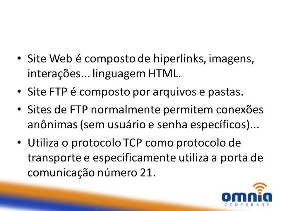Site Web é composto de hiperlinks, imagens, interações... linguagem HTML. Site FTP é composto por arquivos e pastas. Sites de FTP normalmente permitem