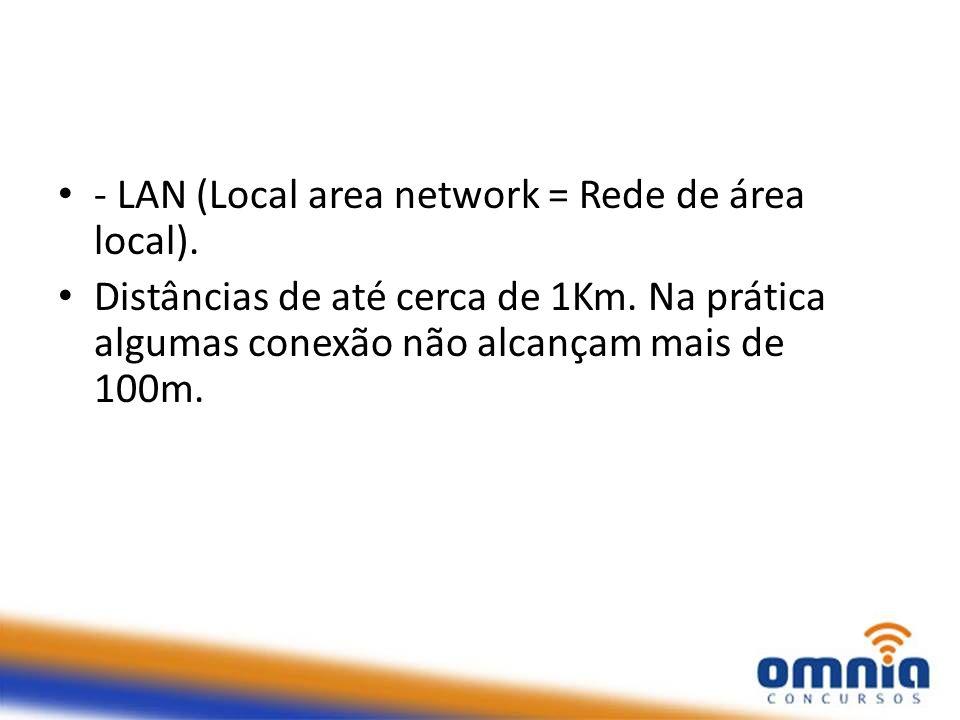 - LAN (Local area network = Rede de área local). Distâncias de até cerca de 1Km. Na prática algumas conexão não alcançam mais de 100m.