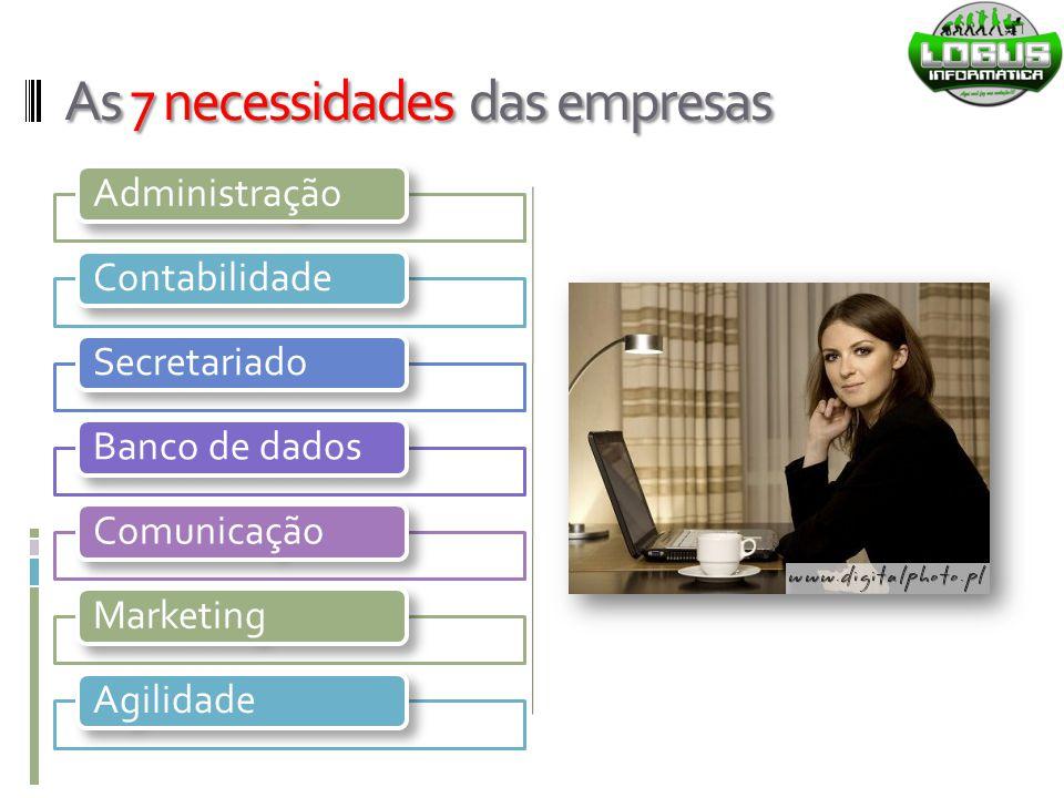 As 7 necessidades das empresas AdministraçãoContabilidadeSecretariado Banco de dados ComunicaçãoMarketing Agilidade