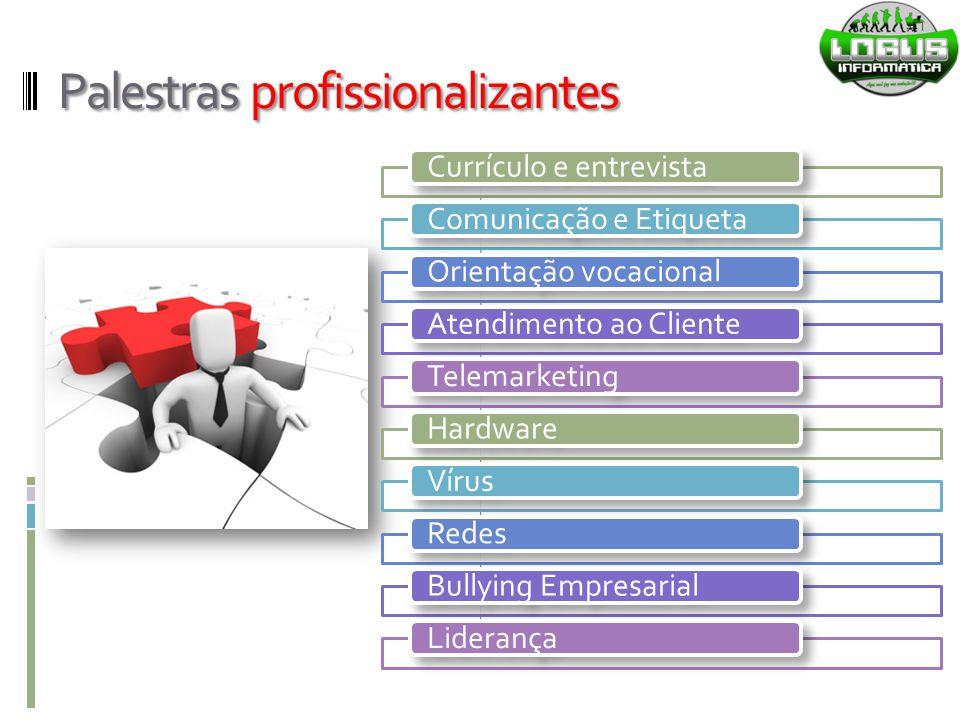Palestras profissionalizantes Currículo e entrevistaComunicação e EtiquetaOrientação vocacionalAtendimento ao ClienteTelemarketingHardwareVírusRedesBu