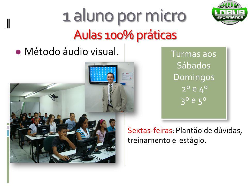 1 aluno por micro Aulas 100% práticas Método áudio visual. Turmas aos Sábados Domingos 2º e 4º 3º e 5º Turmas aos Sábados Domingos 2º e 4º 3º e 5º Sex