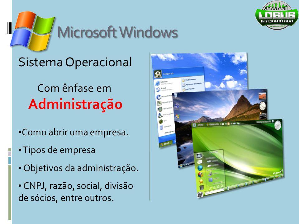Microsoft Windows Sistema Operacional Como abrir uma empresa. Tipos de empresa Objetivos da administração. CNPJ, razão, social, divisão de sócios, ent