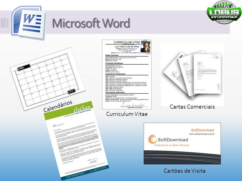 Microsoft Word Curriculum Vitae Calendários Cartas Comerciais Cartões de Visita