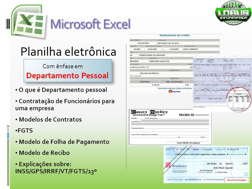 Planilha eletrônica O que é Departamento pessoal Contratação de Funcionários para uma empresa Modelos de Contratos FGTS Modelo de Folha de Pagamento M