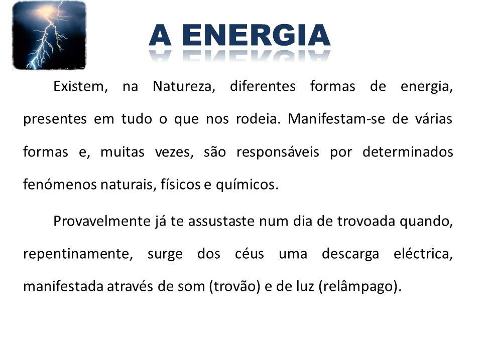 Existem, na Natureza, diferentes formas de energia, presentes em tudo o que nos rodeia. Manifestam-se de várias formas e, muitas vezes, são responsáve