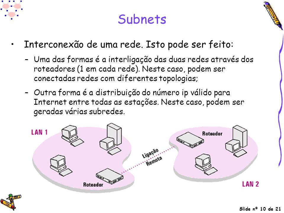 Slide nº 10 de 21 Subnets Interconexão de uma rede. Isto pode ser feito: –Uma das formas é a interligação das duas redes através dos roteadores (1 em