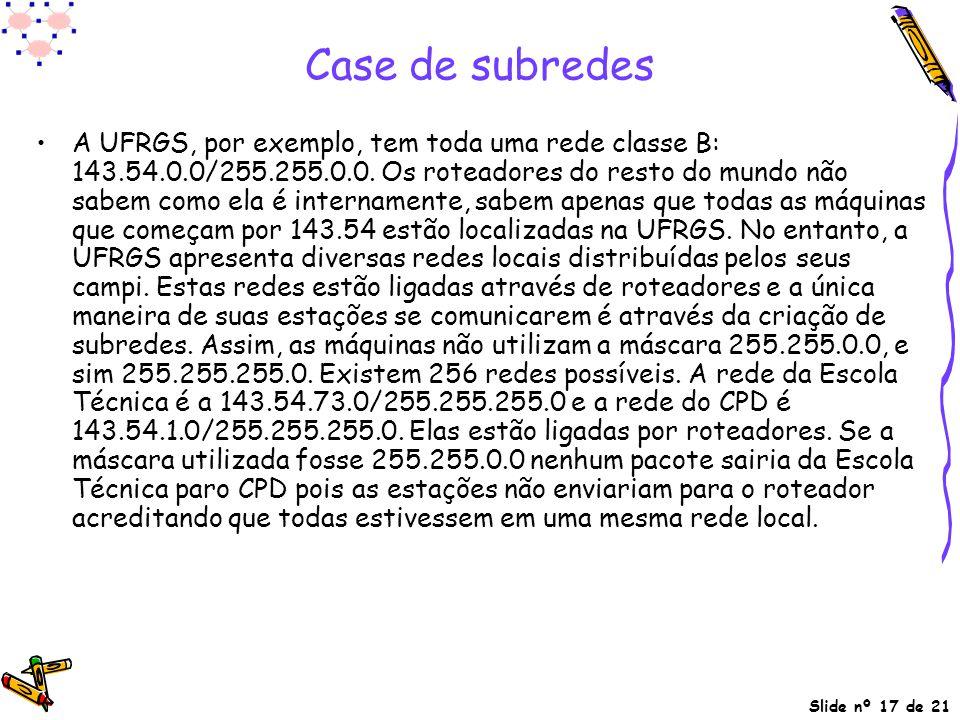 Slide nº 17 de 21 Case de subredes A UFRGS, por exemplo, tem toda uma rede classe B: 143.54.0.0/255.255.0.0. Os roteadores do resto do mundo não sabem