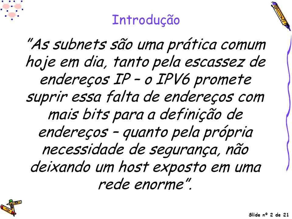 """Slide nº 2 de 21 Introdução """"As subnets são uma prática comum hoje em dia, tanto pela escassez de endereços IP – o IPV6 promete suprir essa falta de e"""