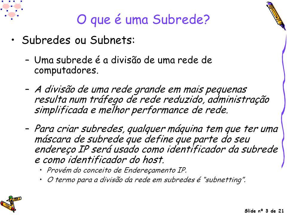 Slide nº 3 de 21 O que é uma Subrede? Subredes ou Subnets: –Uma subrede é a divisão de uma rede de computadores. –A divisão de uma rede grande em mais