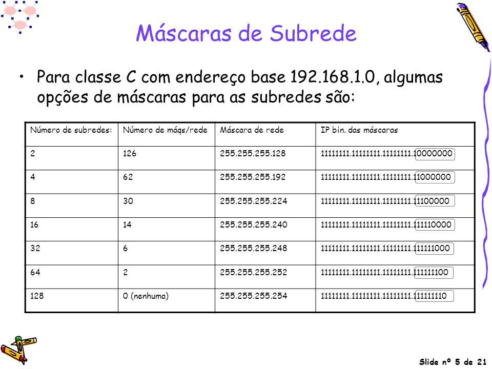 Slide nº 5 de 21 Máscaras de Subrede Para classe C com endereço base 192.168.1.0, algumas opções de máscaras para as subredes são: Número de subredes: