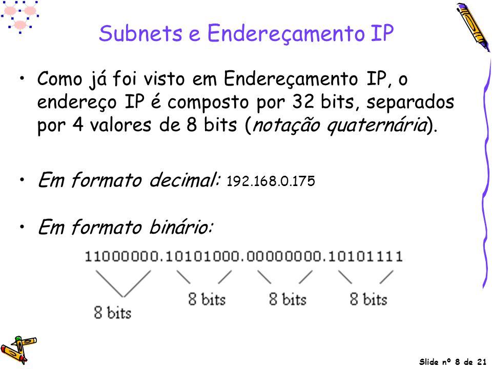 Slide nº 8 de 21 Subnets e Endereçamento IP Como já foi visto em Endereçamento IP, o endereço IP é composto por 32 bits, separados por 4 valores de 8