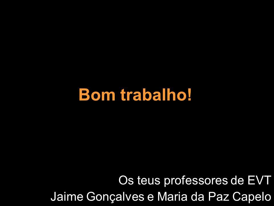 Bom trabalho! Os teus professores de EVT Jaime Gonçalves e Maria da Paz Capelo