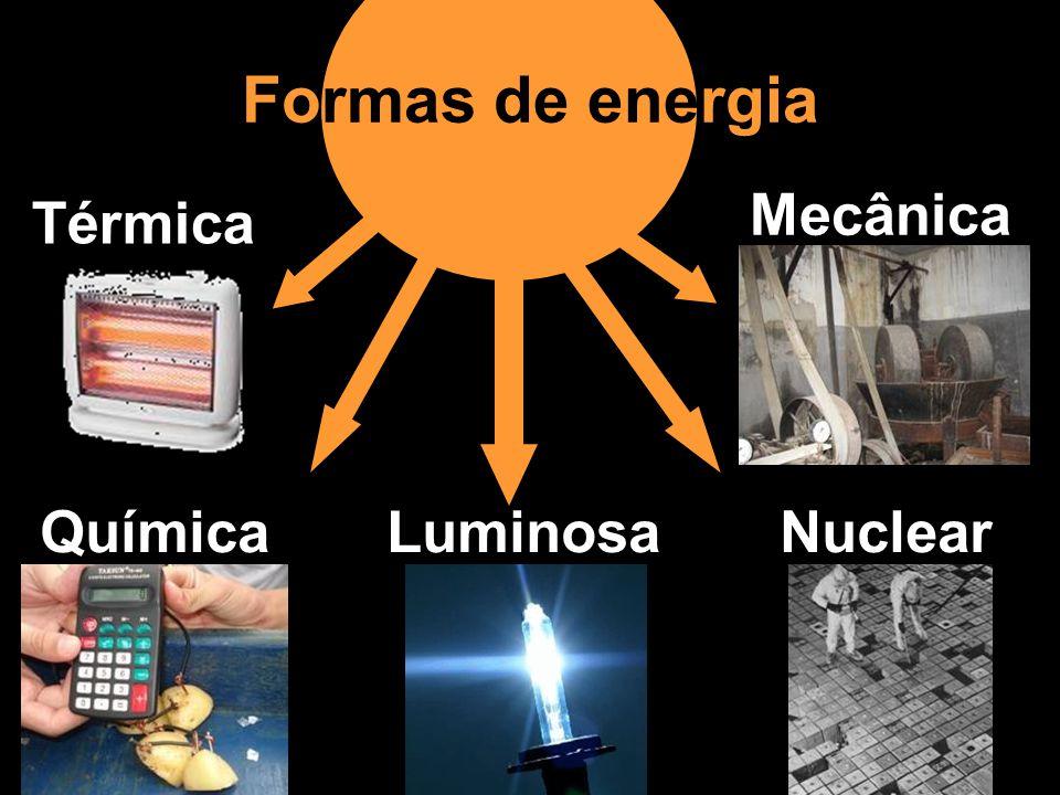 Formas de energia Térmica Química Luminosa Nuclear Mecânica