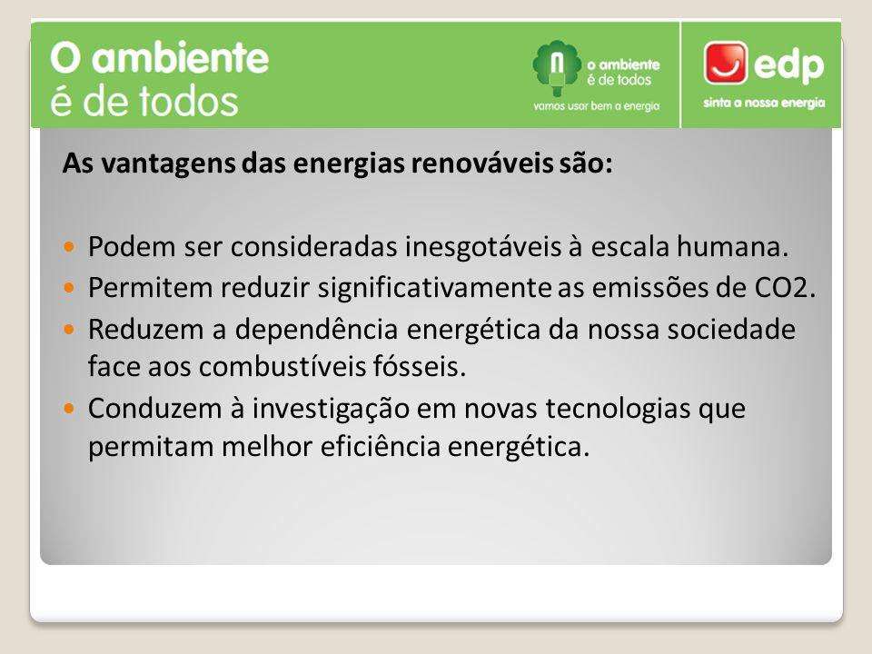 As vantagens das energias renováveis são: Podem ser consideradas inesgotáveis à escala humana. Permitem reduzir significativamente as emissões de CO2.
