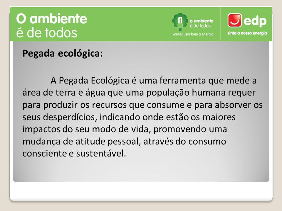 Pegada ecológica: A Pegada Ecológica é uma ferramenta que mede a área de terra e água que uma população humana requer para produzir os recursos que co