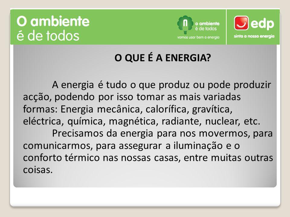 O QUE É A ENERGIA? A energia é tudo o que produz ou pode produzir acção, podendo por isso tomar as mais variadas formas: Energia mecânica, calorífica,