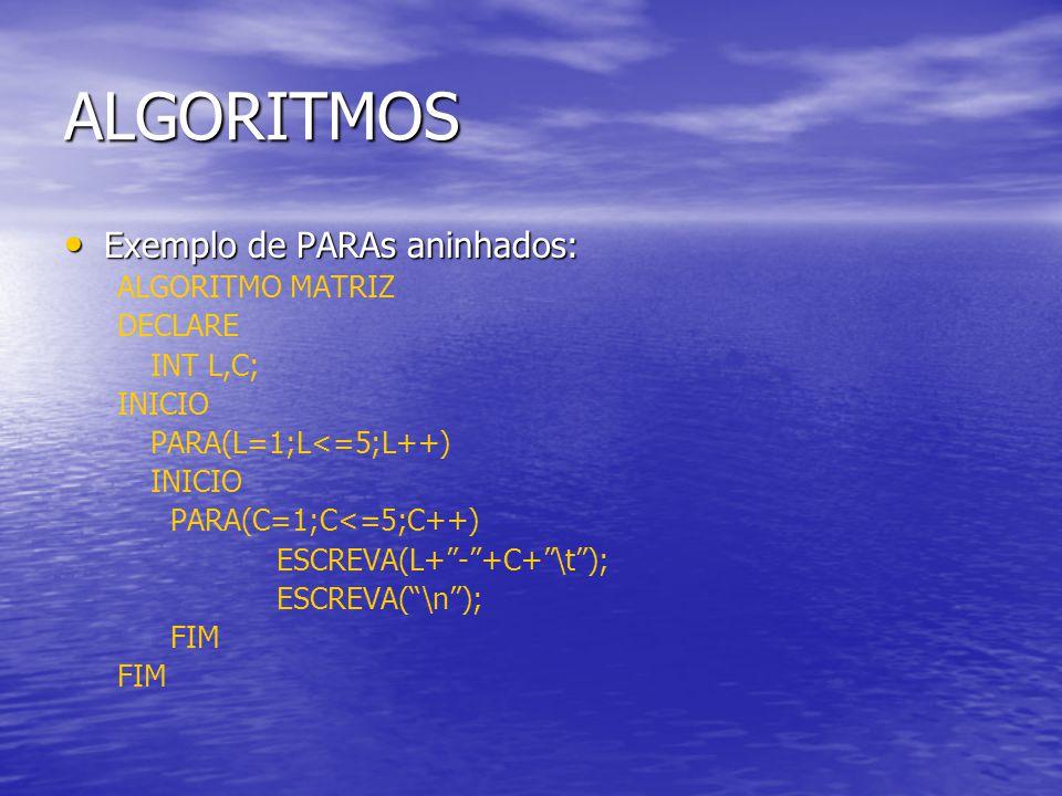 ALGORITMOS Exemplo de PARAs aninhados: Exemplo de PARAs aninhados: ALGORITMO MATRIZ DECLARE INT L,C; INICIO PARA(L=1;L<=5;L++) INICIO PARA(C=1;C<=5;C+