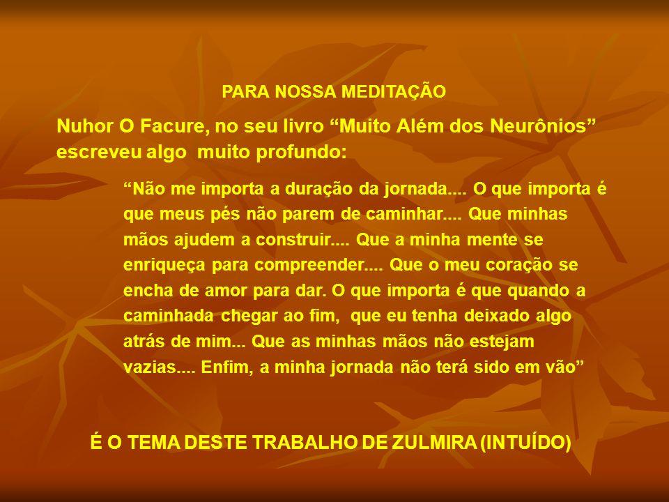 PARA NOSSA MEDITAÇÃO Nuhor O Facure, no seu livro Muito Além dos Neurônios escreveu algo muito profundo: Não me importa a duração da jornada....