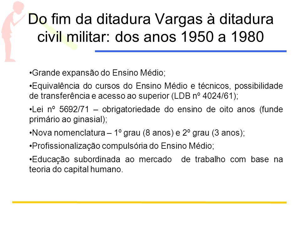 Do fim da ditadura Vargas à ditadura civil militar: dos anos 1950 a 1980 Grande expansão do Ensino Médio; Equivalência do cursos do Ensino Médio e téc