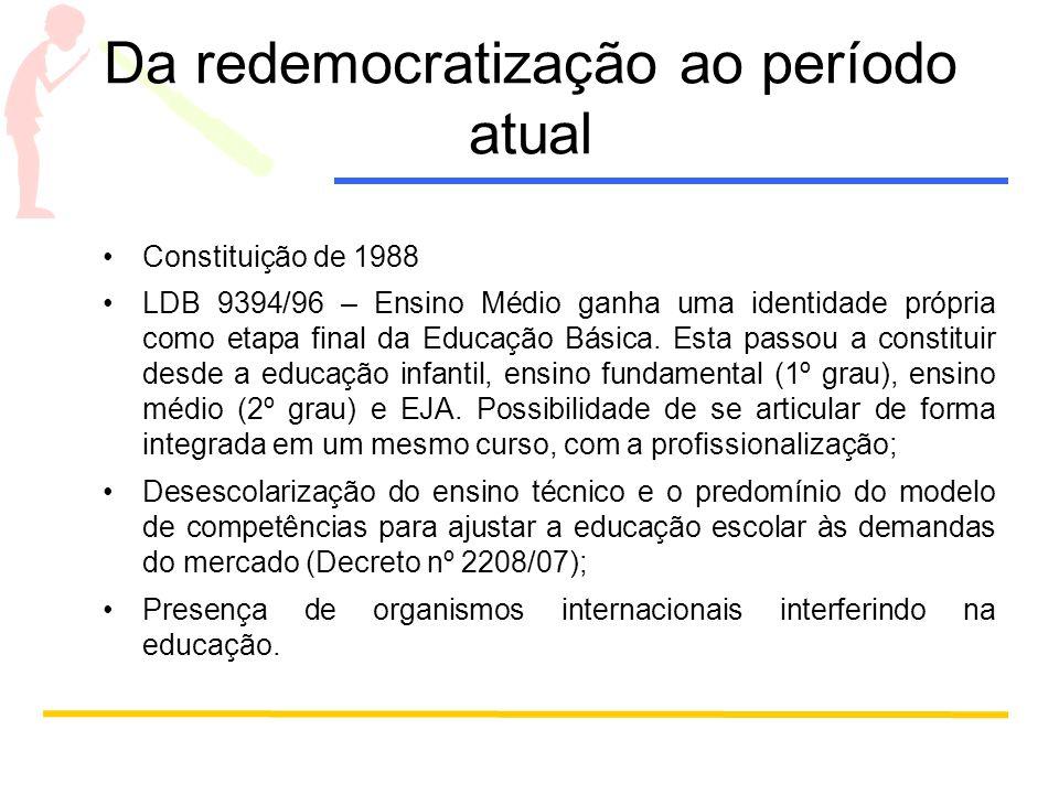 Da redemocratização ao período atual Constituição de 1988 LDB 9394/96 – Ensino Médio ganha uma identidade própria como etapa final da Educação Básica.
