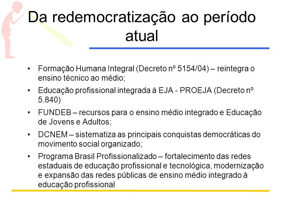 Da redemocratização ao período atual Formação Humana Integral (Decreto nº 5154/04) – reintegra o ensino técnico ao médio; Educação profissional integr