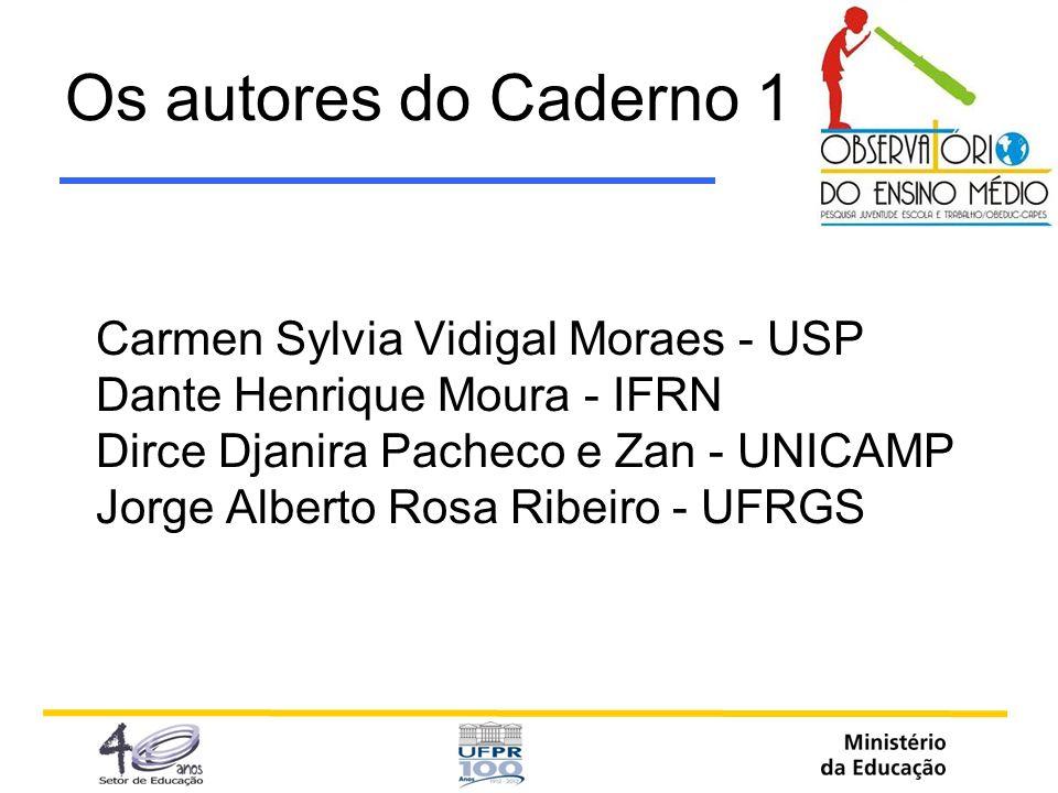 Os autores do Caderno 1 Carmen Sylvia Vidigal Moraes - USP Dante Henrique Moura - IFRN Dirce Djanira Pacheco e Zan - UNICAMP Jorge Alberto Rosa Ribeir