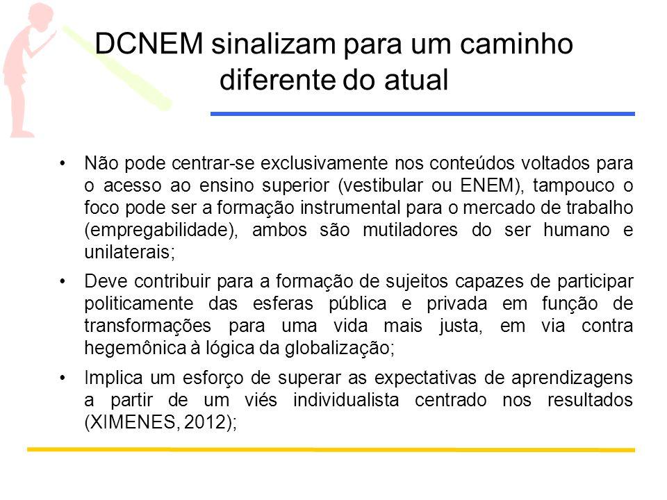 DCNEM sinalizam para um caminho diferente do atual Não pode centrar-se exclusivamente nos conteúdos voltados para o acesso ao ensino superior (vestibu