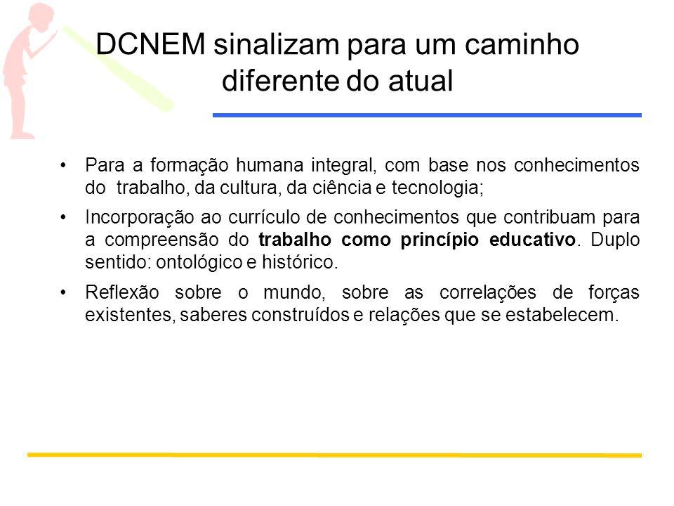 DCNEM sinalizam para um caminho diferente do atual Para a formação humana integral, com base nos conhecimentos do trabalho, da cultura, da ciência e t