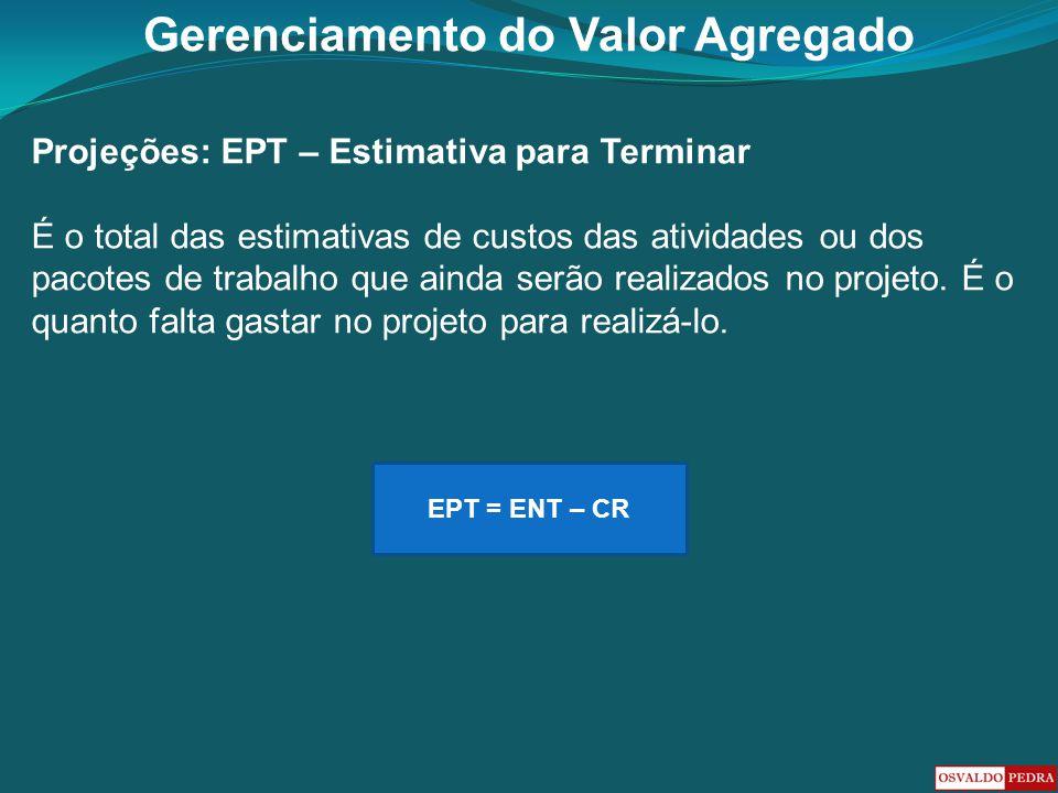 Gerenciamento do Valor Agregado Projeções: EPT – Estimativa para Terminar É o total das estimativas de custos das atividades ou dos pacotes de trabalh