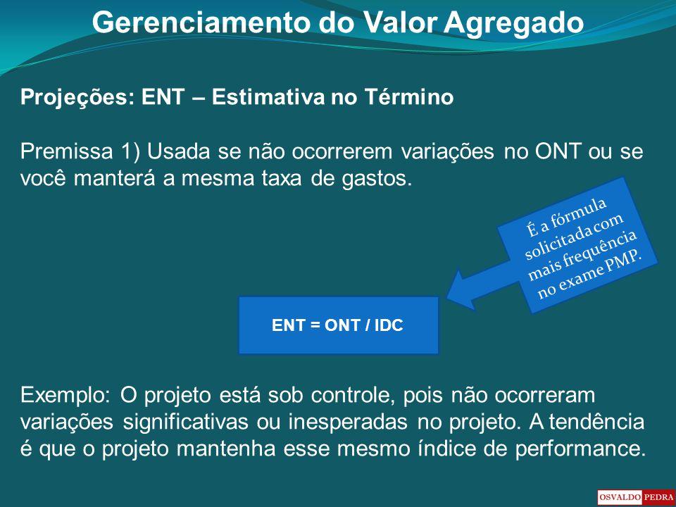 Gerenciamento do Valor Agregado Projeções: ENT – Estimativa no Término Premissa 1) Usada se não ocorrerem variações no ONT ou se você manterá a mesma