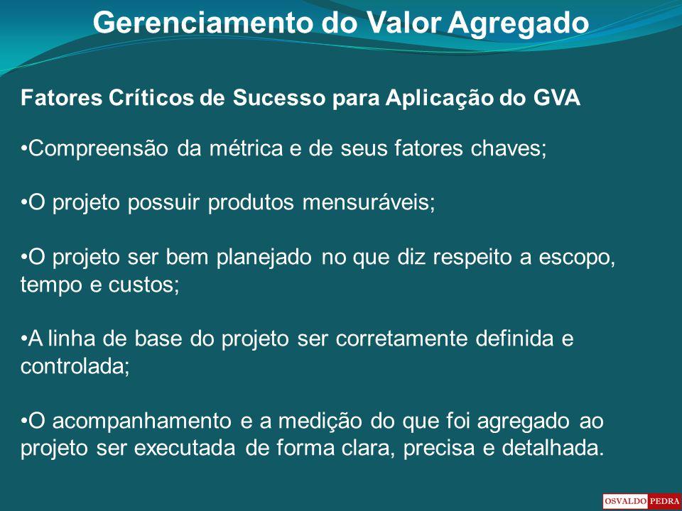 Gerenciamento do Valor Agregado Fatores Críticos de Sucesso para Aplicação do GVA Compreensão da métrica e de seus fatores chaves; O projeto possuir p