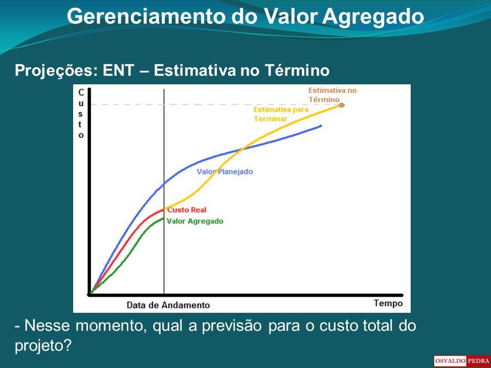 Gerenciamento do Valor Agregado Projeções: ENT – Estimativa no Término - Nesse momento, qual a previsão para o custo total do projeto?