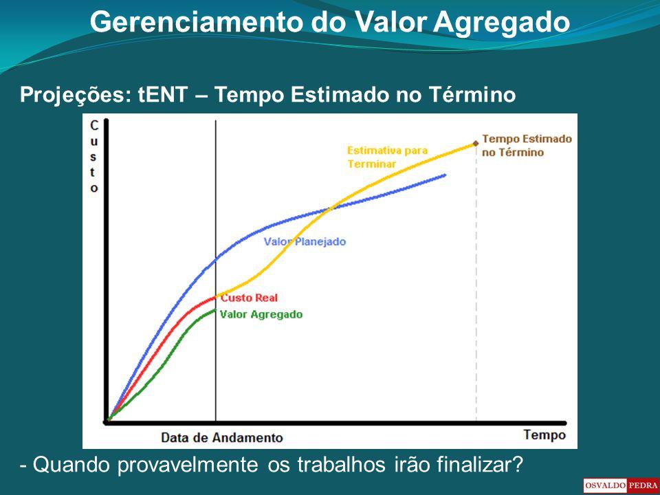 Gerenciamento do Valor Agregado Projeções: tENT – Tempo Estimado no Término - Quando provavelmente os trabalhos irão finalizar?