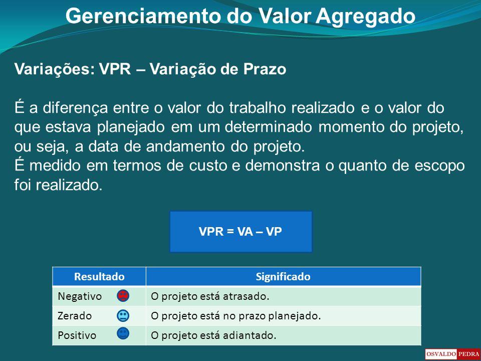 Gerenciamento do Valor Agregado Variações: VPR – Variação de Prazo É a diferença entre o valor do trabalho realizado e o valor do que estava planejado