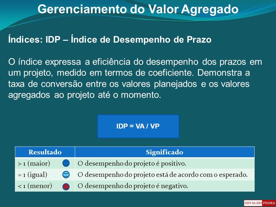 Gerenciamento do Valor Agregado Índices: IDP – Índice de Desempenho de Prazo O índice expressa a eficiência do desempenho dos prazos em um projeto, me