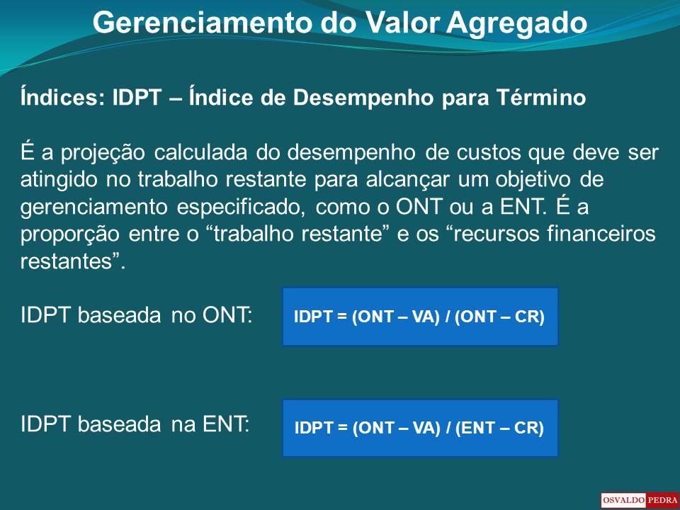 Gerenciamento do Valor Agregado Índices: IDPT – Índice de Desempenho para Término É a projeção calculada do desempenho de custos que deve ser atingido