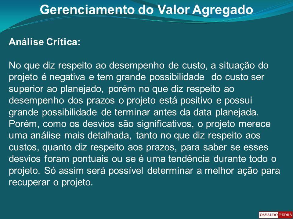Gerenciamento do Valor Agregado Análise Crítica: No que diz respeito ao desempenho de custo, a situação do projeto é negativa e tem grande possibilida