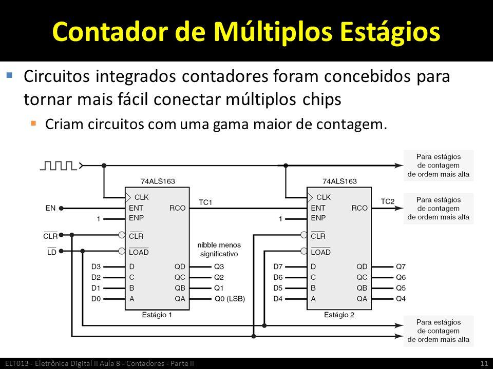 Contador de Múltiplos Estágios  Circuitos integrados contadores foram concebidos para tornar mais fácil conectar múltiplos chips  Criam circuitos co