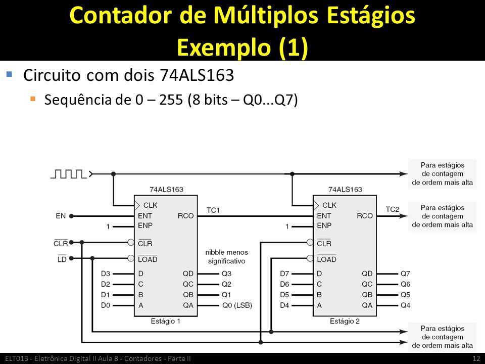 Contador de Múltiplos Estágios Exemplo (1)  Circuito com dois 74ALS163  Sequência de 0 – 255 (8 bits – Q0...Q7) ELT013 - Eletrônica Digital II Aula