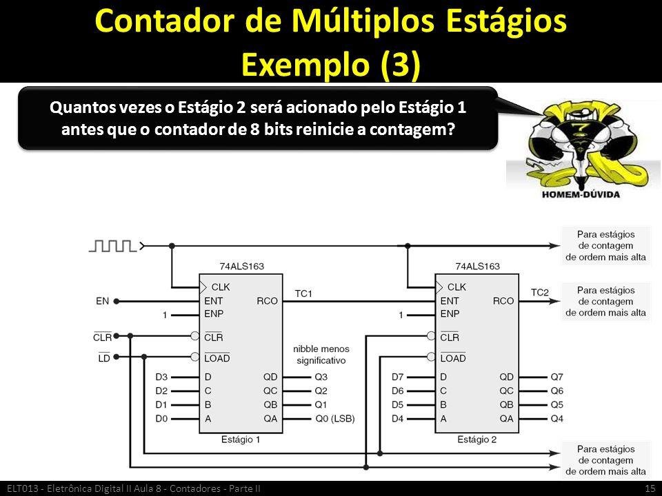Contador de Múltiplos Estágios Exemplo (3) ELT013 - Eletrônica Digital II Aula 8 - Contadores - Parte II15 Quantos vezes o Estágio 2 será acionado pel